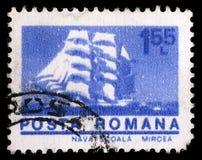 Штемпель напечатанный в Румынии показывает барк Mircea кадета Стоковые Изображения