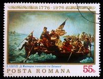 Штемпель напечатанный в Румынии показывает Вашингтон пересекая Делавер Стоковые Фото