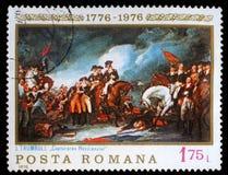 Штемпель напечатанный в Румынии показывает захват Hessians, крася Джоном Trumbull Стоковые Изображения