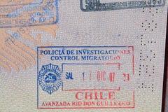 штемпель пасспорта Чили Стоковое Изображение