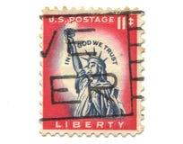 штемпель почтоваи оплата США вольности старый Стоковые Фото