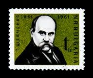 Штемпель почтового сбора Болгарии показывает портрет поэта и писателя Taras Shevchenko, 100 лет годовщины рождения, около 1961 Стоковое Изображение