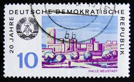 Штемпель почтового сбора ГДР Германии показывает здоровый-Neustadt город, около 1969 Стоковое Изображение RF