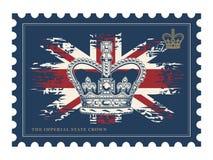 Штемпель почтового сбора с имперской кроной на флаге Великобритании Иллюстрация вектора