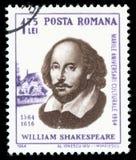Штемпель почтового сбора Уильям Шекспир Румынии стоковое изображение