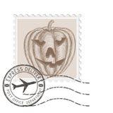 Штемпель хеллоуина с высекаенной тыквой иллюстрация штока