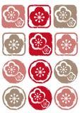 Штемпель цветка Ume - комплект значка иллюстрация штока