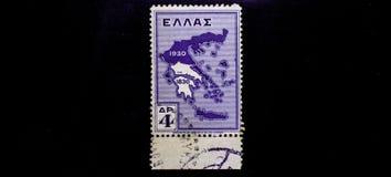ШТЕМПЕЛЬ ELLAS 1930 МИРА ВИНТАЖНЫЙ, ТОЧНОЕ GRAFICS Стоковое Изображение RF