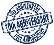 штемпель 10th годовщины голубой Стоковые Изображения RF