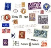 Штемпеля и ярлыки почтоваи оплата от Соединённого Королевства Стоковое Изображение RF