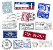 Штемпеля и ярлыки почтоваи оплата от франция Стоковое Изображение