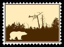 штемпеля почтоваи оплата медведя иллюстрация штока