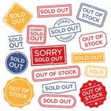 Штемпеля распродано Вне - - избитая фраза запаса, красный прямоугольный ярлык покупок и комплект вектора бирки значка продаж иллюстрация вектора