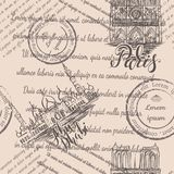 Штемпеля, собор Нотр-Дам и шейх Zayed Мечеть с помечать буквами Париж и Абу-Даби, безшовную картину на бежевой предпосылке стоковые изображения rf