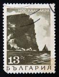 Штемпель БОЛГАРИИ показывает накидку Kaliakra, около 1975 Стоковое Фото