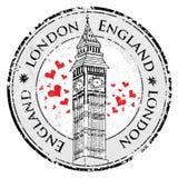 Штемпель Лондон Великобритания сердца влюбленности Grunge, башня большого Бен Стоковое Изображение