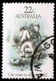 Штемпель напечатанный в Австралии предназначил к эре золотой лихорадки Стоковые Фотографии RF