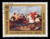 Штемпель напечатанный в Венгрии выдал для 300th годовщины рождения выставок принца Ferenc Rakoczi II столкновение между ` s Kuru  Стоковое Изображение RF