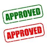 Штемпель одобренный с зеленым и красным текстом Стоковая Фотография RF