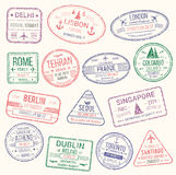 Штемпель пасспорта, комплект значка знака визы перемещения Стоковые Фото