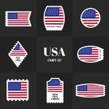Штемпель почтового сбора американского флага собрания Стоковая Фотография RF