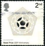 Штемпель почтового сбора Великобритании годовщины Нобелевской премии 100th Стоковое Изображение RF