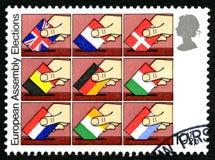 Штемпель почтового сбора Великобритании избраний европейского собрания Стоковое Изображение RF