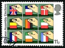 Штемпель почтового сбора Великобритании избраний европейского собрания Стоковые Фотографии RF