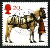 Штемпель почтового сбора Великобритании лошади ферзей Стоковое Фото