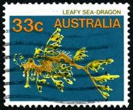 Штемпель почтового сбора густолиственного дракона моря австралийский Стоковые Фото