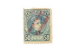 Штемпель почтового сбора изолированный на белой предпосылке Штемпель почтового сбора Spai стоковая фотография