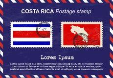 Штемпель почтового сбора Коста-Рика, винтажный штемпель, конверт воздушной почты Стоковое фото RF