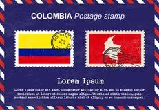 Штемпель почтового сбора Колумбии, винтажный штемпель, конверт воздушной почты Стоковая Фотография RF
