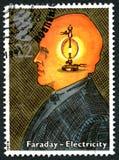 Штемпель почтового сбора Майкл Фарадей Великобритании стоковое изображение rf