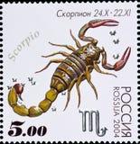 Штемпель почтового сбора - созвездие Scorpio, зодиака подписывает серию 2004 Стоковое Изображение RF