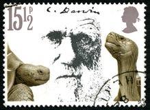 Штемпель почтового сбора Чарлза Дарвина Великобритании Стоковая Фотография RF