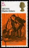 Штемпель почтового сбора Чарльза Диккенса Великобритании Стоковая Фотография