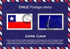 Штемпель почтового сбора Чили, винтажный штемпель, конверт воздушной почты Стоковые Фотографии RF