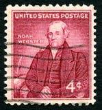 Штемпель почтового сбора Noah Webster США стоковая фотография rf