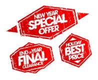 Штемпель специального предложения Нового Года, штемпель зазора конца года окончательный, штемпель цены праздника самый лучший Стоковые Фотографии RF