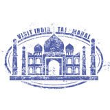 Штемпель с дворцом Тадж-Махала, посещение Индия иллюстрация штока