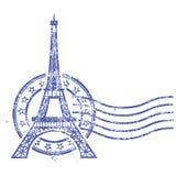 Штемпель Grunge круглый с Эйфелева башней иллюстрация штока