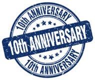 штемпель 10th годовщины голубой иллюстрация вектора
