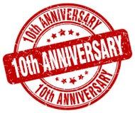штемпель 10th годовщины красный Стоковые Изображения RF