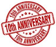 штемпель 10th годовщины красный Стоковая Фотография
