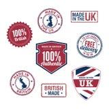 Штемпеля и значки Великобритании Стоковые Изображения