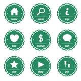 Штемпеля и ярлыки зеленого цвета для дизайна Стоковое Изображение RF