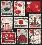 Штемпеля на теме Японии Стоковые Изображения