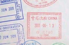Штемпеля пасспорта визы Китая Стоковая Фотография RF