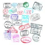 Штемпеля пасспорта изолированные на белизне Стоковое Фото